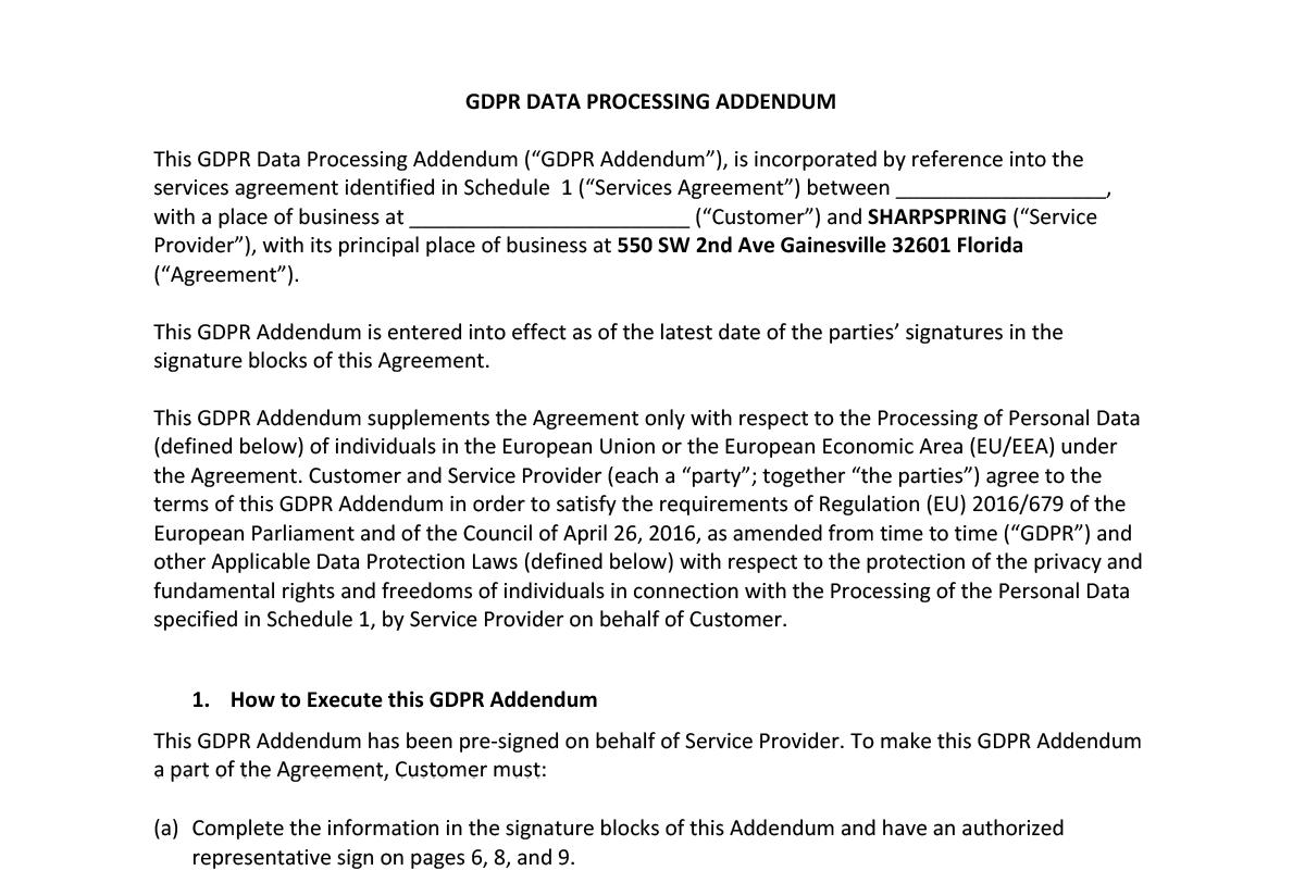 Acuerdo de procesamiento de datos GDPR