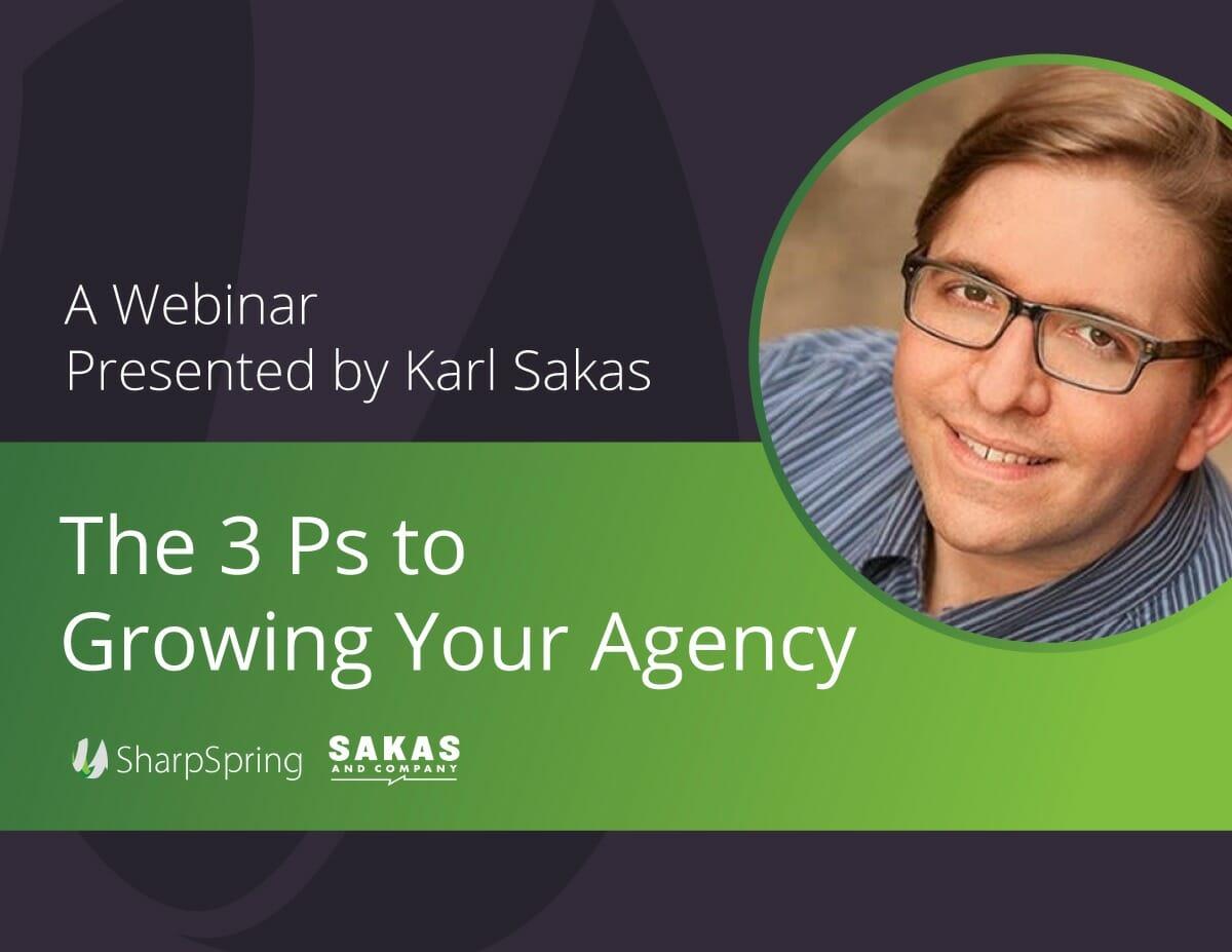 Imagen de portada del seminario de Karl Sakas y SharpSpring