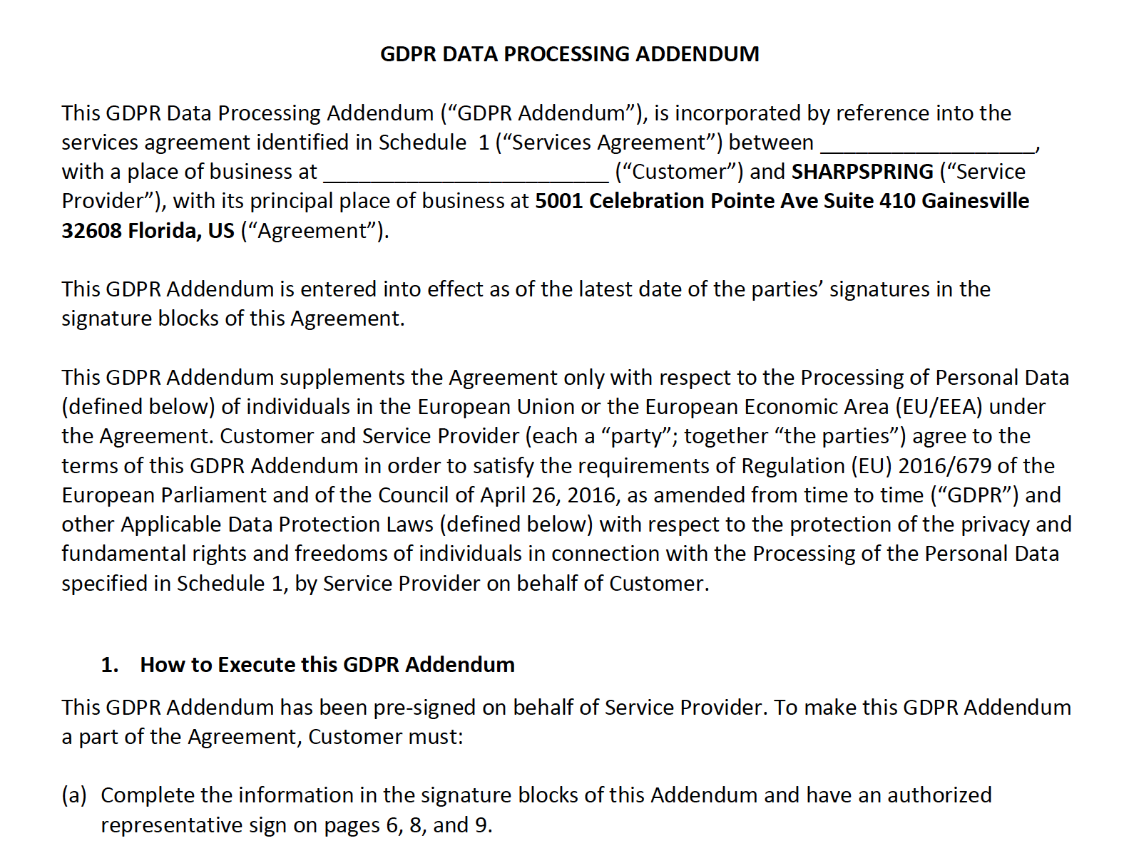 Overeenkomst voor GDPR-gegevensverwerking
