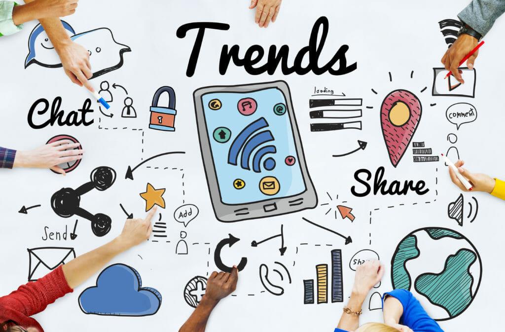 Concetto di progetto di tendenza di tendenza di tendenze