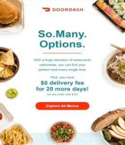 Voorbeeld van DoorDash Email Marketing Automation