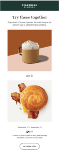 Example of Starbucks Email Marketing Automation
