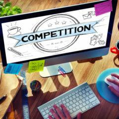 Laptopscherm voor concurrentieanalyse